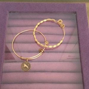 Two gold toned Alex and Ani bracelets